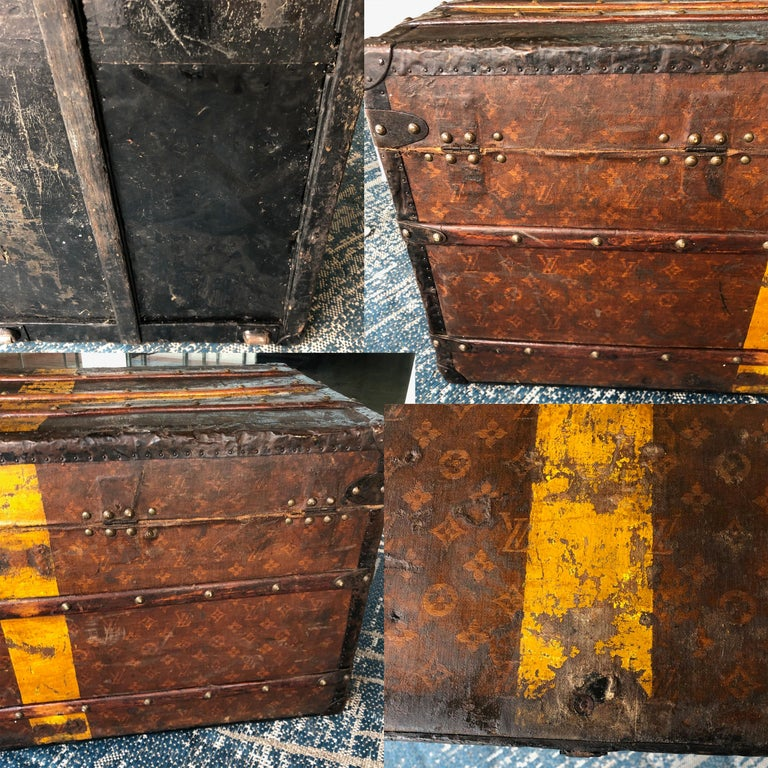 Louis Vuitton Steamer Trunk Monogram Canvas with 3 Insert Trays Early 20th C For Sale 9
