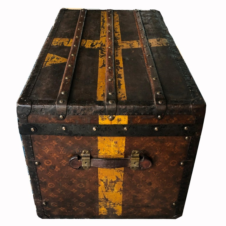 Brown Louis Vuitton Steamer Trunk Monogram Canvas with 3 Insert Trays Early 20th C For Sale