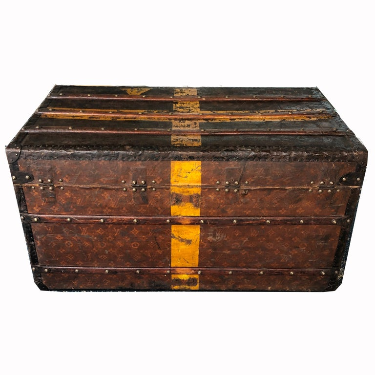 Louis Vuitton Steamer Trunk Monogram Canvas with 3 Insert Trays Early 20th C In Fair Condition For Sale In Port Saint Lucie, FL