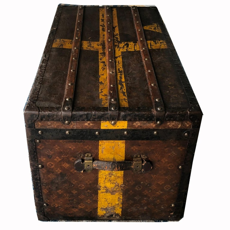 Women's or Men's Louis Vuitton Steamer Trunk Monogram Canvas with 3 Insert Trays Early 20th C For Sale