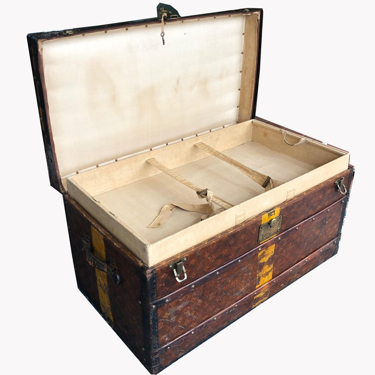 Louis Vuitton Steamer Trunk Monogram Canvas with 3 Insert Trays Early 20th C For Sale 3