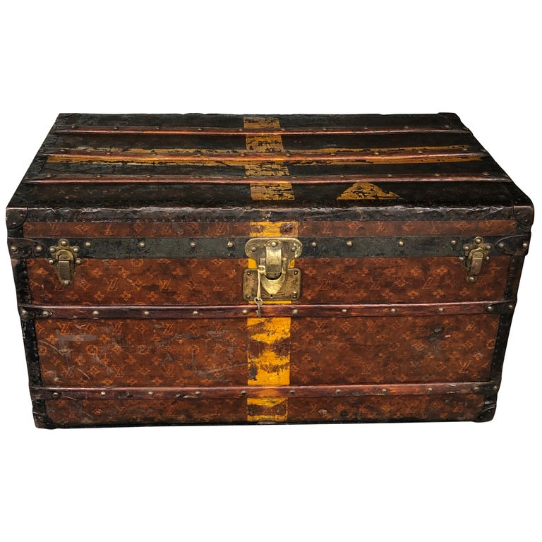 Louis Vuitton Steamer Trunk Monogram Canvas with 3 Insert Trays Early 20th C For Sale