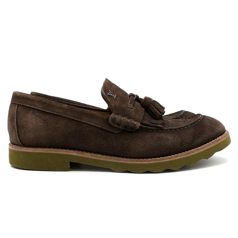 Louis Vuitton suede tassel loafers   100% suede; pointed toe; Made in Italy   Please note, these items are pre-owned and may show signs of being stored even when unworn and unused. This is reflected within the significantly reduced price. Please