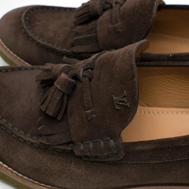 Men's Louis Vuitton suede brown tassel loafers SIZE 8 For Sale