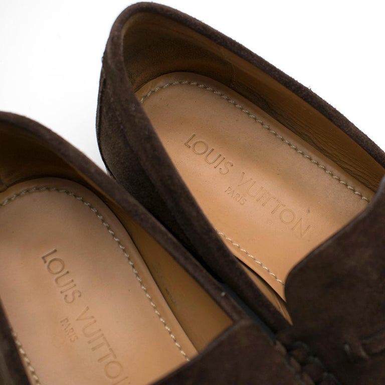 Louis Vuitton suede brown tassel loafers SIZE 8 For Sale 2