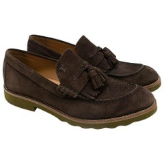 Louis Vuitton suede brown tassel loafers SIZE 8