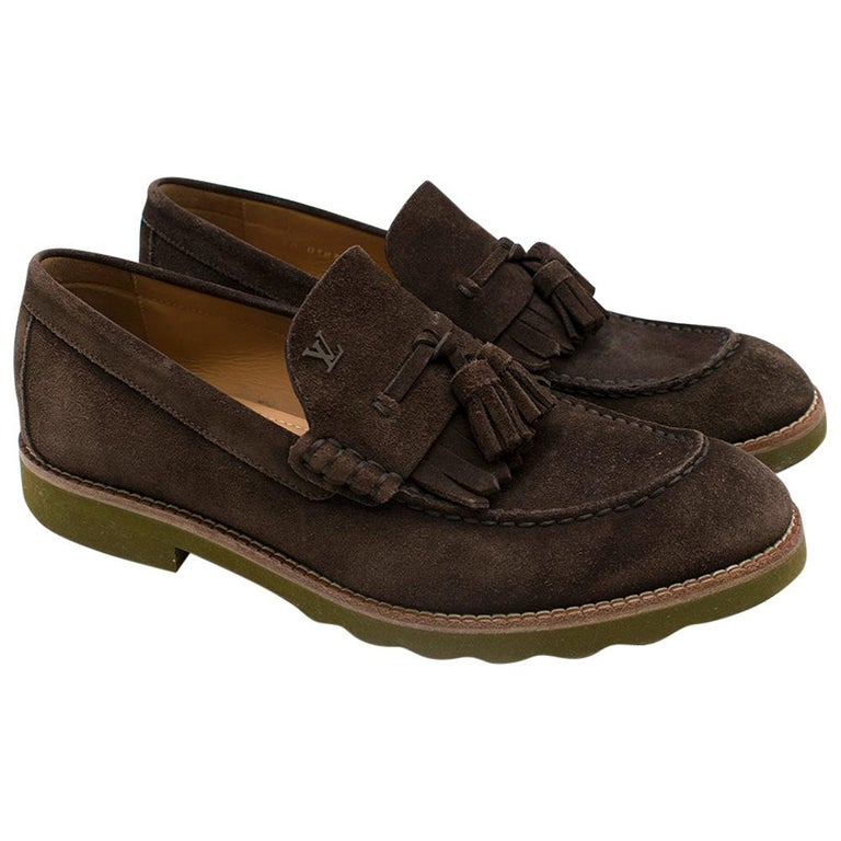 Louis Vuitton suede brown tassel loafers SIZE 8 For Sale