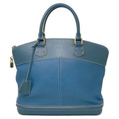 Louis Vuitton Suhali MM Lockit Blue Leather Tote Handbag