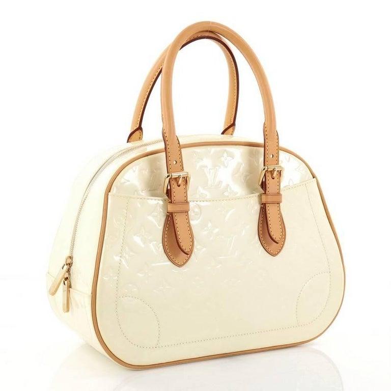 White Louis Vuitton Summit Drive Handbag Monogram Vernis  For Sale