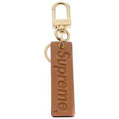 Louis Vuitton Supreme Logo Brown Leather Key Ring / Keychain