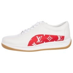 Louis Vuitton Supreme NEW Men'sWhite Red Monogram Sneakers Trainers Shoes in Box