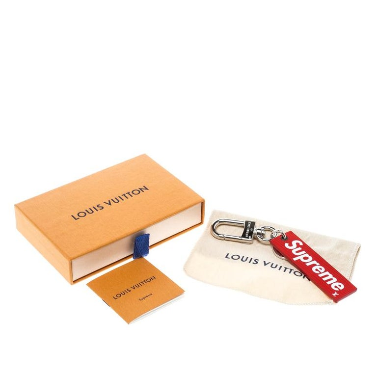 Louis Vuitton Supreme Red Leather Charm Key Ring / Keychain 1