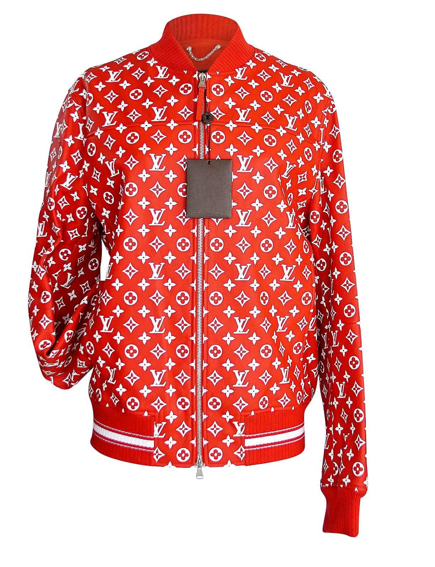 73d96cbc894a Louis Vuitton Supreme X Leather Bomber Varsity Jacket Monogram Ltd Ed size  50 For Sale at 1stdibs