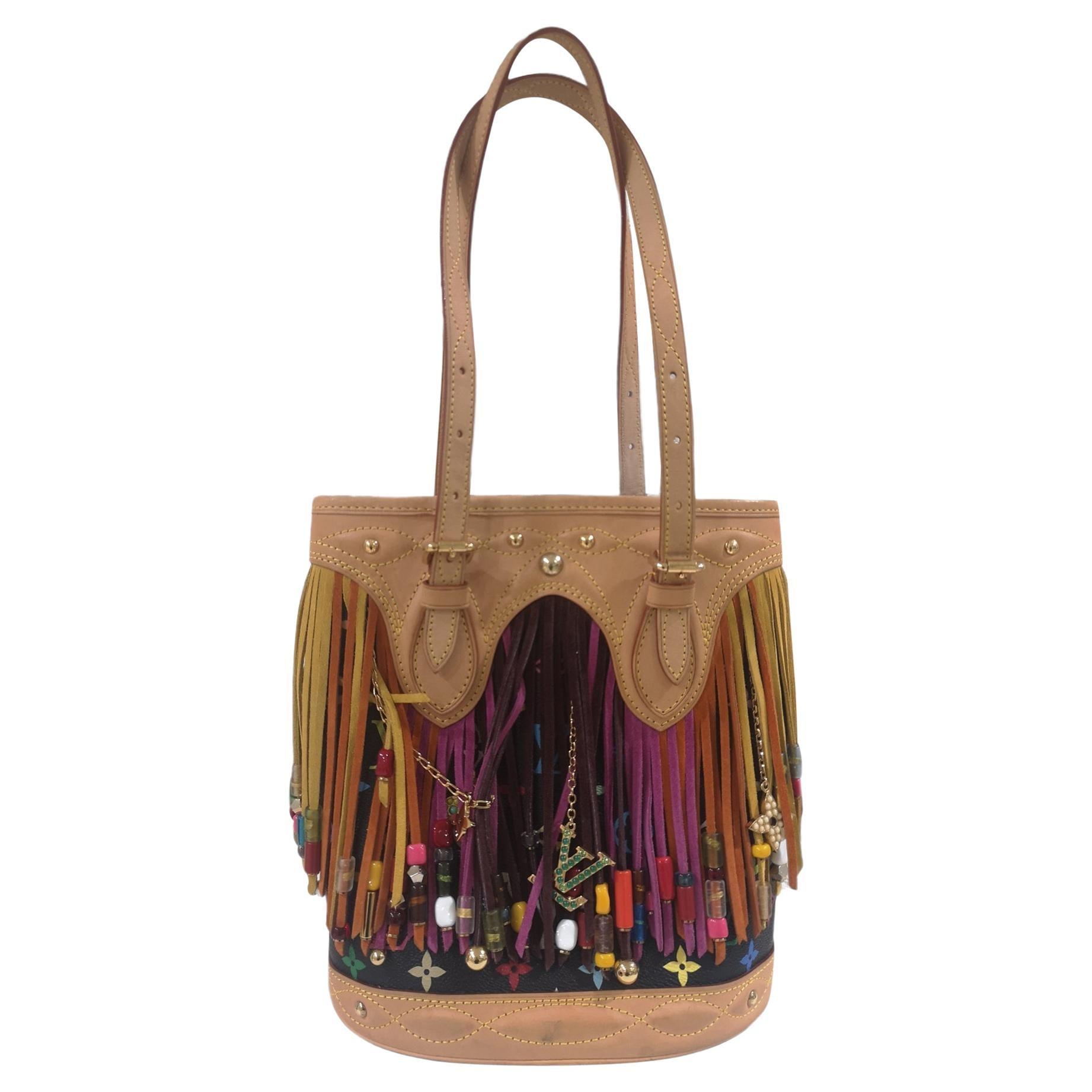Louis Vuitton Takashi Murakami Black multicoloured fringes bucket bag pochette