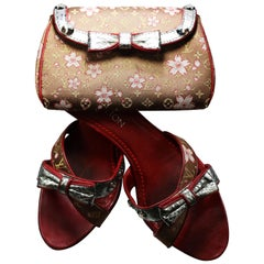 Louis Vuitton Takashi Murakami Monogram Satin Cherry Blossom Set of Sandal & Bag