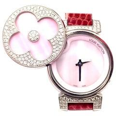 Louis Vuitton Tambour Bijou Diamond Pink Mother of Pearl White Gold Secret Watch