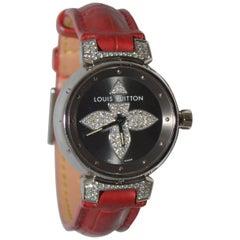 Louis Vuitton Tambour Bijoux Red Watch with Diamonds