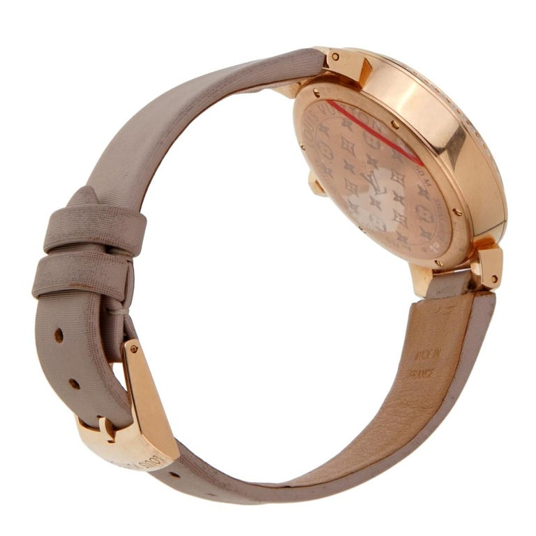 Round Cut Louis Vuitton Tambour Blossom 35 Rose Gold Diamond Watch For Sale