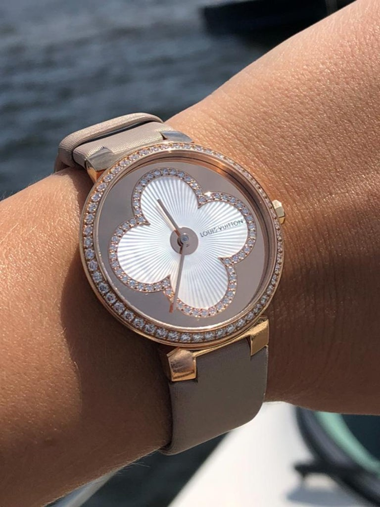 Louis Vuitton Tambour Blossom 35 Rose Gold Diamond Watch In Excellent Condition For Sale In Feasterville, PA