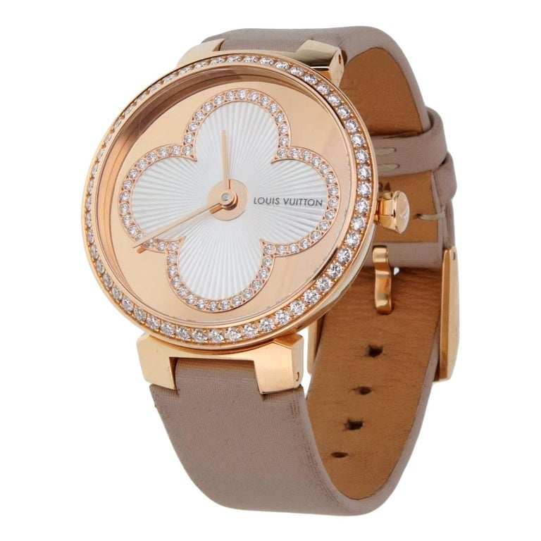Louis Vuitton Tambour Blossom 35 Rose Gold Diamond Watch For Sale