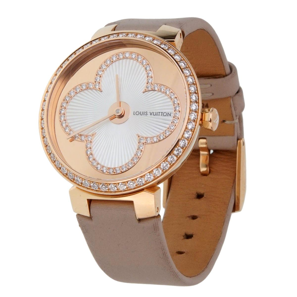 Louis Vuitton Tambour Blossom 35 Rose Gold Diamond Watch