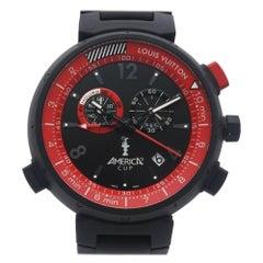 LOUIS VUITTON Tambour Chrono Americas Cup Limited quartz Mens watch Q101A0 black