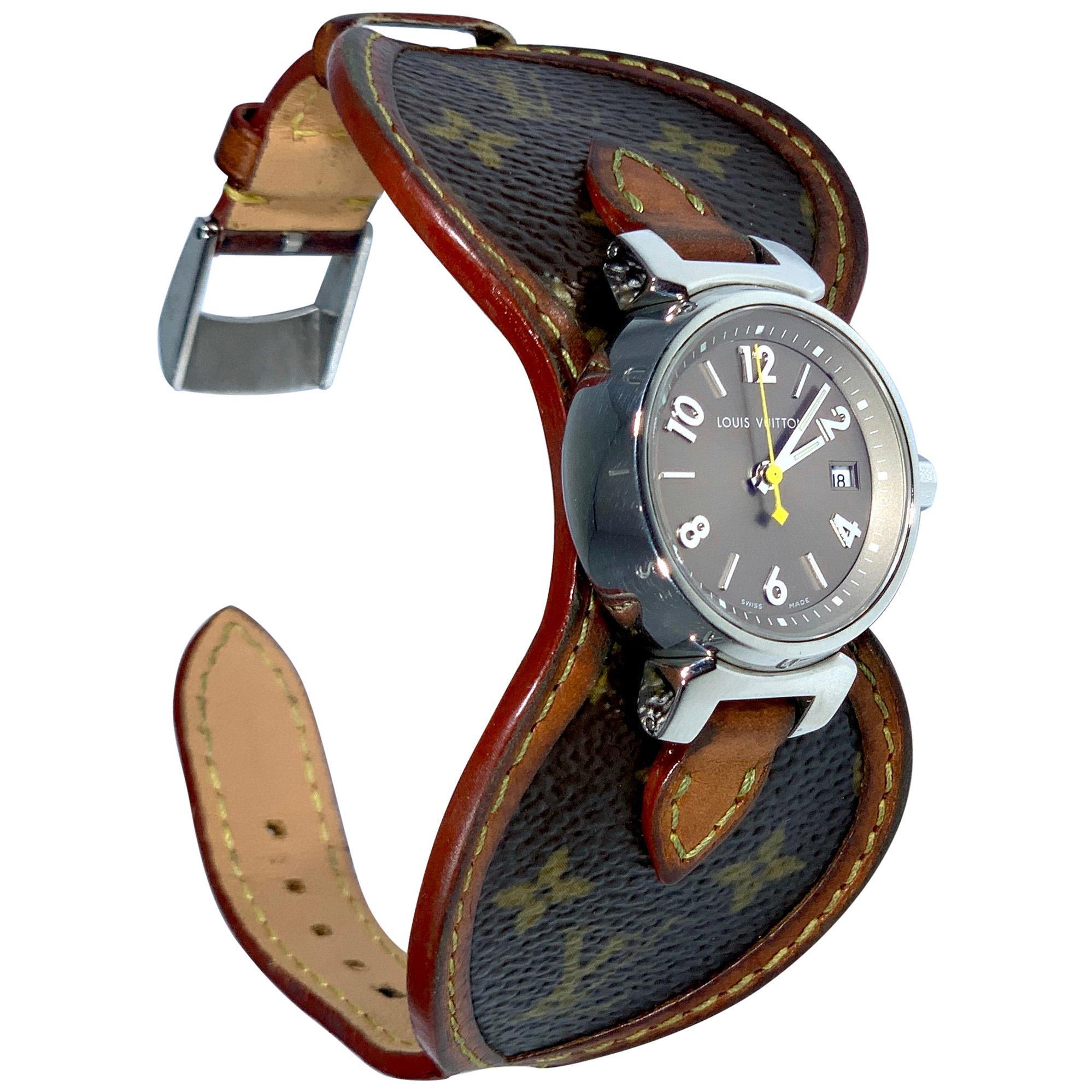 Louis Vuitton Tambour Q1212 Quartz Ladies Watch, Louis Vuitton Monogram Leather