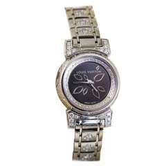 Louis Vuitton Tambour Stainless Steel Diamonds Ladies Watch