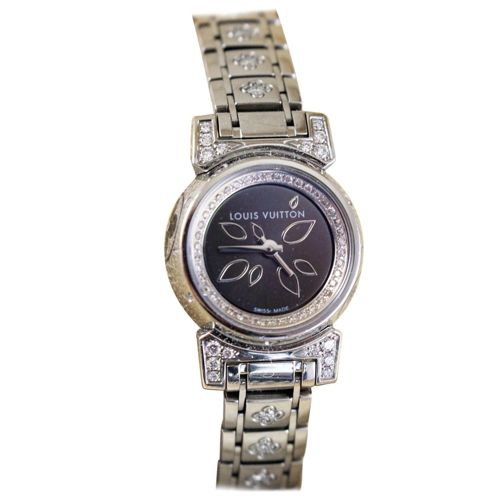 Louis Vuitton Tambour Stainless Steel Diamonds Ladies Watch