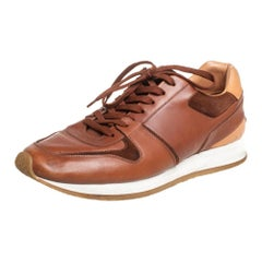 Louis Vuitton Tan Leather Lace Up Low Top Sneakers Size 43