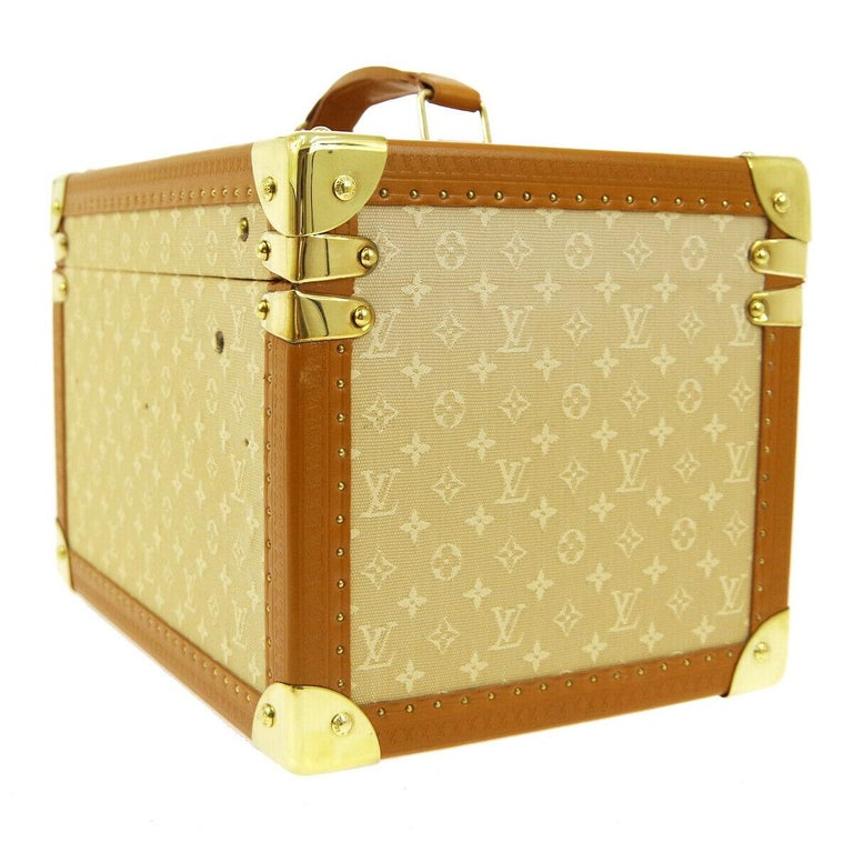 Brown Louis Vuitton Tan Monogram Leather Travel Vanity Top Handle Storage Box Trunk For Sale