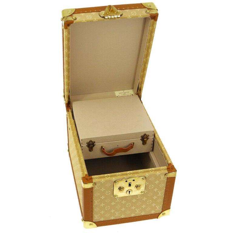 Women's Louis Vuitton Tan Monogram Leather Travel Vanity Top Handle Storage Box Trunk For Sale