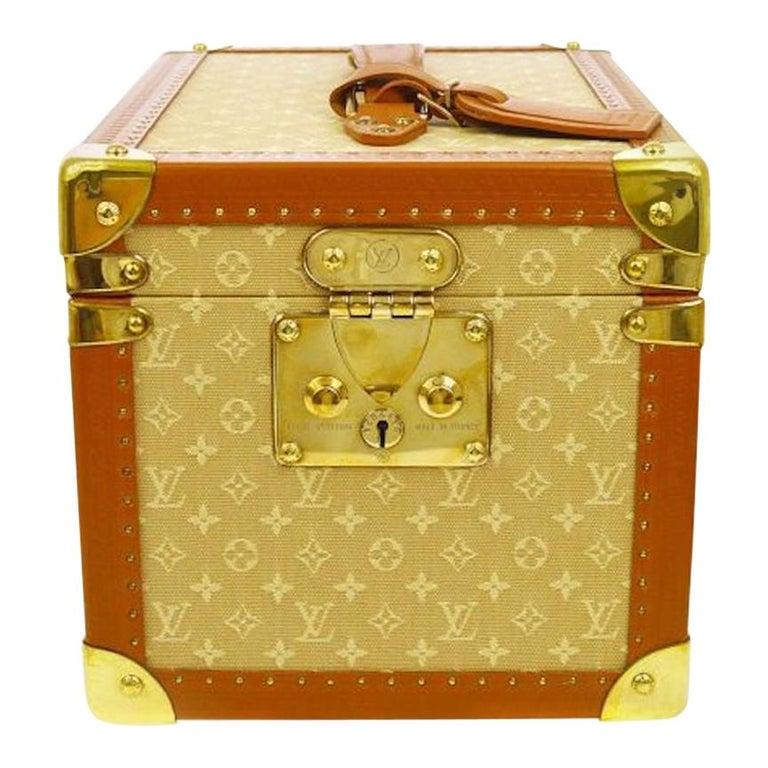 Louis Vuitton Tan Monogram Leather Travel Vanity Top Handle Storage Box Trunk For Sale