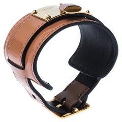 Louis Vuitton Tan Vernis Infinit Gold Tone Cuff Bracelet 17