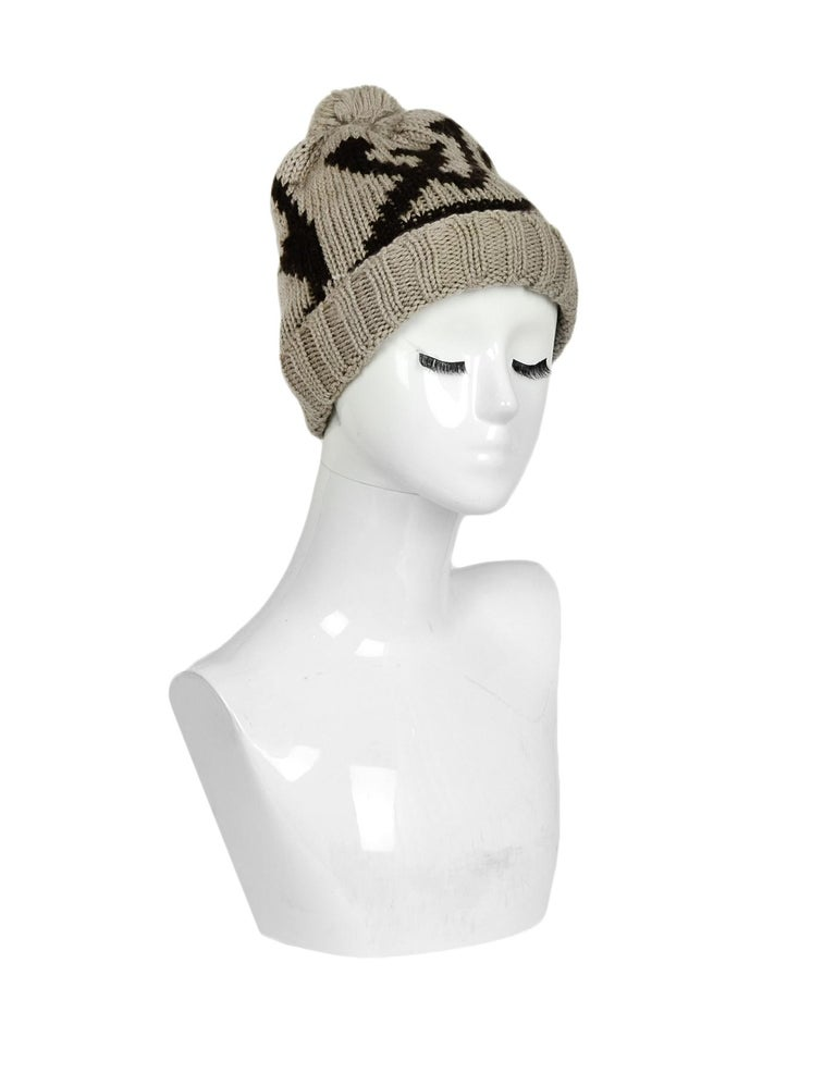 Louis Vuitton Taupe Brown Monogram Wool Grand Froid Pom Beanie  Made In: Italy Color: Taupe, Brown Materials: 100% Wool Overall Condition: Excellent pre-owned condition  Measurements:  9