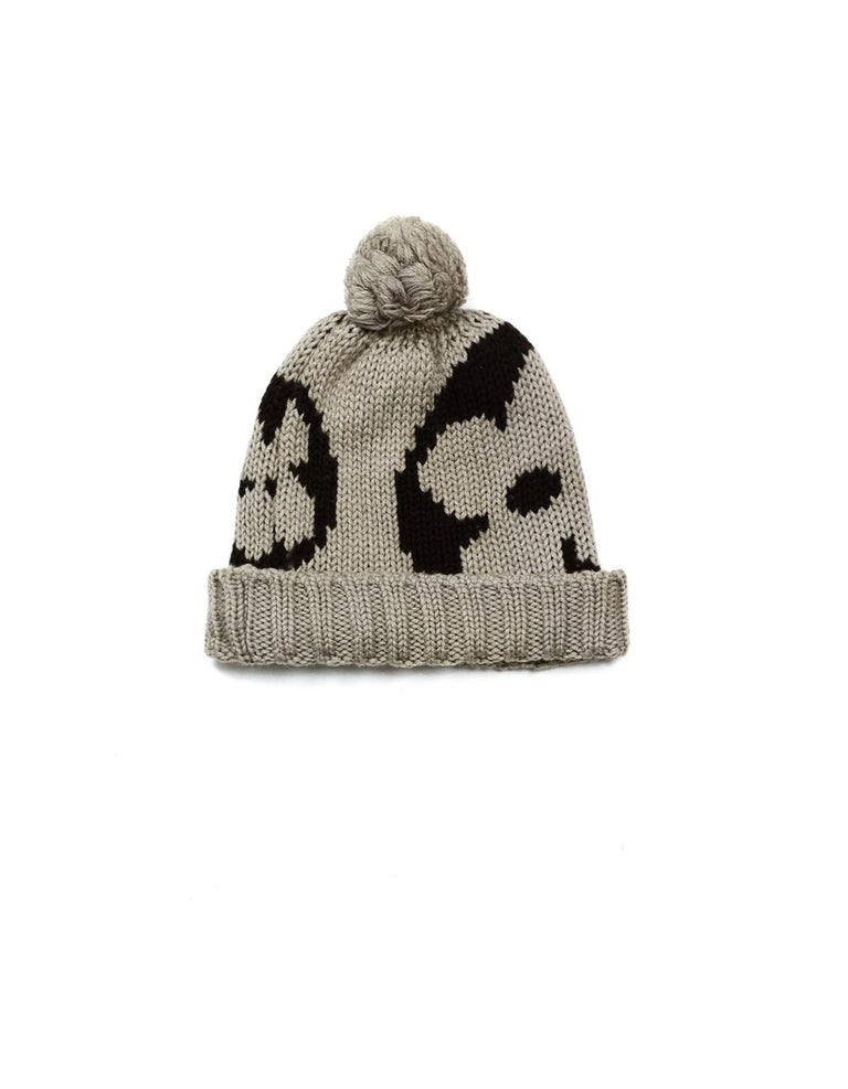 Louis Vuitton Taupe Brown Monogram Wool Grand Froid Pom Beanie In Excellent Condition For Sale In New York, NY
