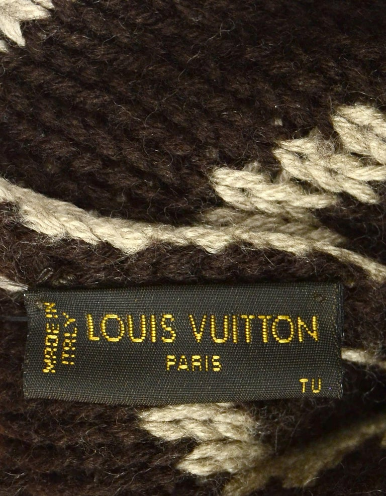 Women's or Men's Louis Vuitton Taupe Brown Monogram Wool Grand Froid Pom Beanie For Sale