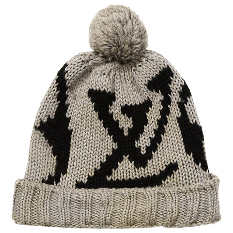 Louis Vuitton Taupe Brown Monogram Wool Grand Froid Pom Beanie For Sale