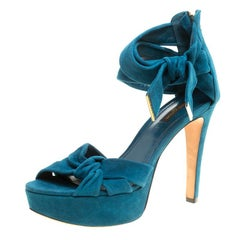 Louis Vuitton Teal Suede Platform Sandals Size 38