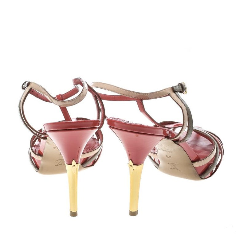 bb14e48478e Brown Louis Vuitton Tri Color Patent Leather T Strap Sandals Size 39 For  Sale