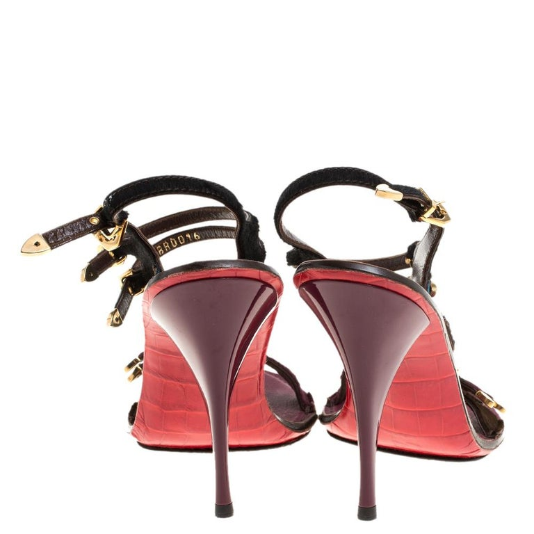 Black Louis Vuitton Tricolor Calf Hair And Croc Leather Strappy Buckle Ankle Size 39 For Sale