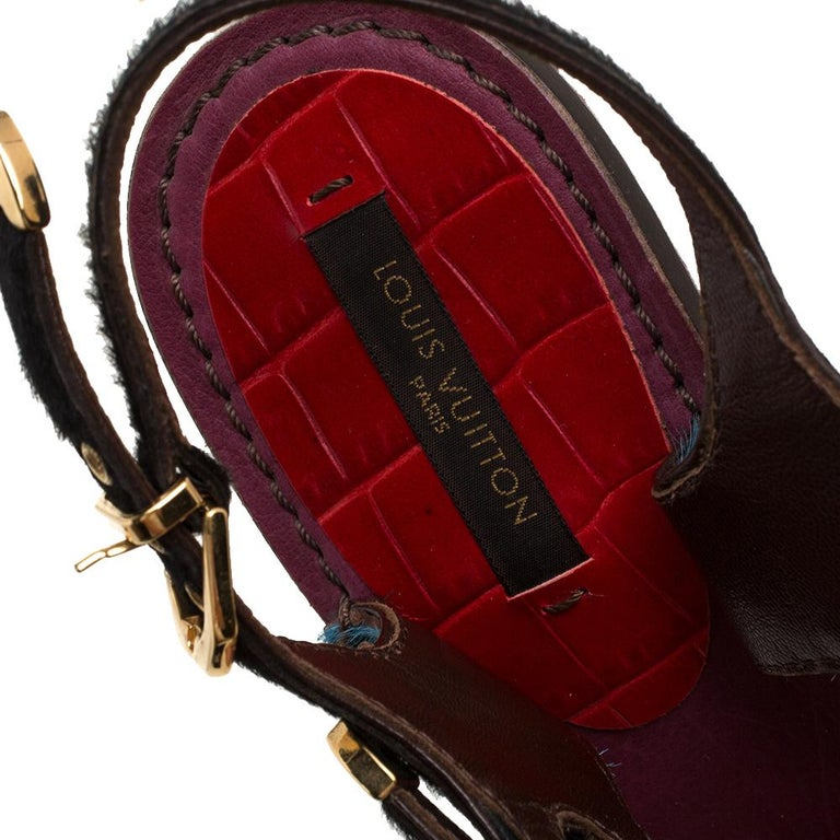 Louis Vuitton Tricolor Calf Hair And Croc Leather Strappy Buckle Ankle Size 39 For Sale 1
