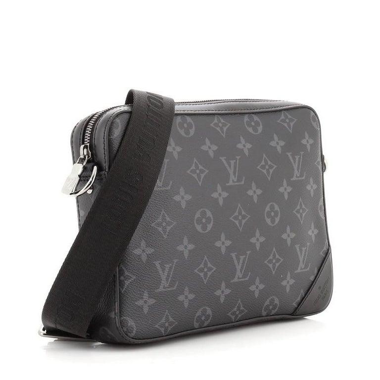 Black Louis Vuitton Trio Messenger Bag Monogram Eclipse and Reverse Monogram Eclipse For Sale