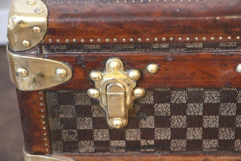 French Louis Vuitton Trunk in Checkered Pattern, Damier Louis Vuitton Steamer Trunk For Sale