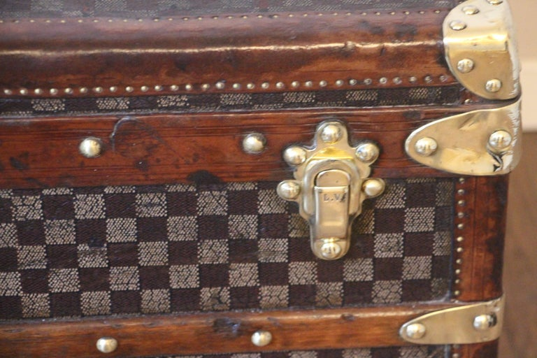 Late 19th Century Louis Vuitton Trunk in Checkered Pattern, Damier Louis Vuitton Steamer Trunk For Sale