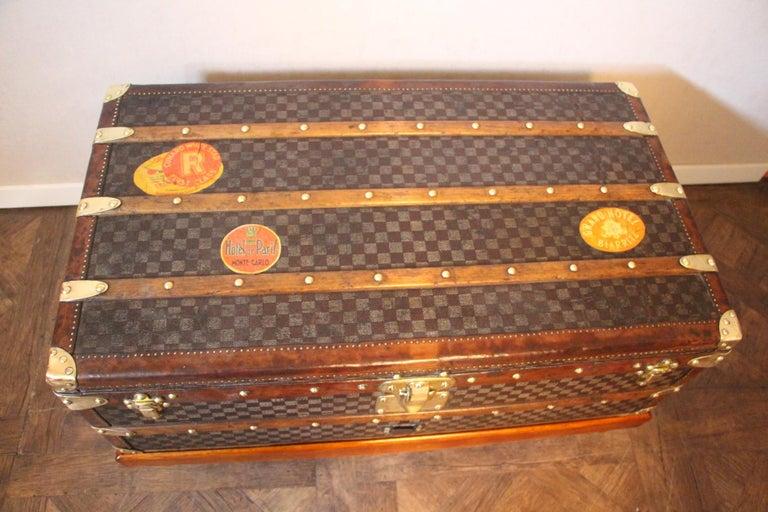 Brass Louis Vuitton Trunk in Checkered Pattern, Damier Louis Vuitton Steamer Trunk For Sale