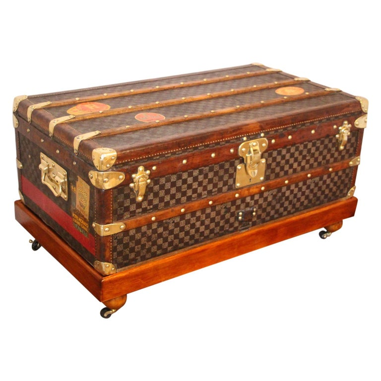 Louis Vuitton Trunk in Checkered Pattern, Damier Louis Vuitton Steamer Trunk For Sale