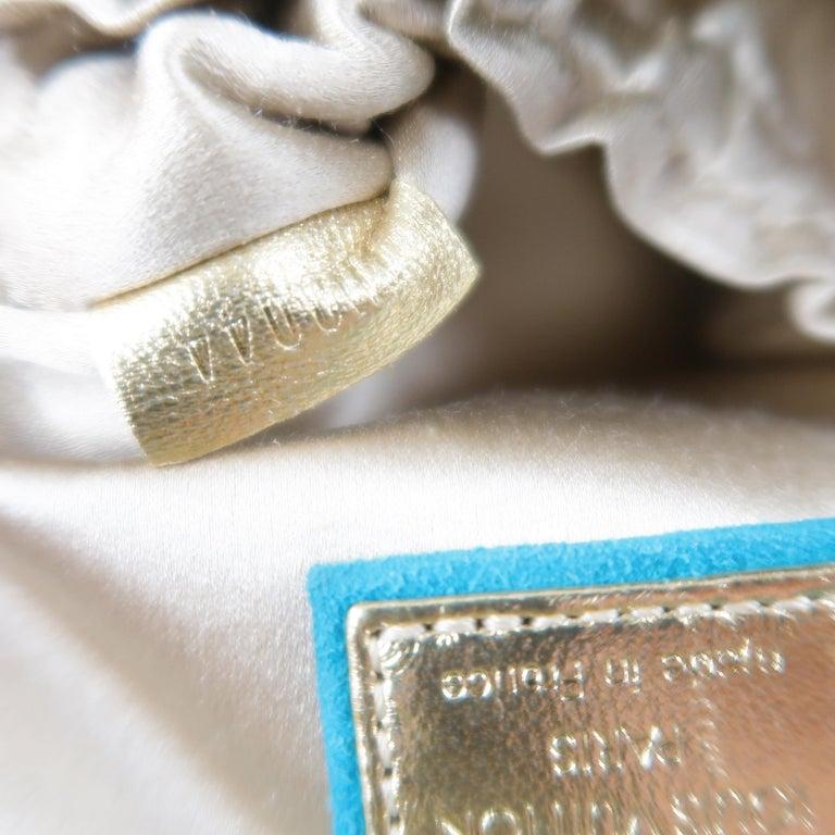LOUIS VUITTON Türkis & Gold Monogramm Wildleder Lock Kette Armband THEDA PM Mini Beutel 16