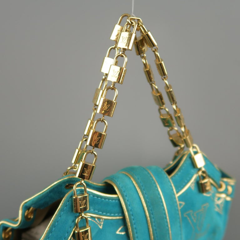 LOUIS VUITTON Türkis & Gold Monogramm Wildleder Lock Kette Armband THEDA PM Mini Beutel 3