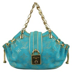 LOUIS VUITTON Turquoise & Gold Monogram Suede Lock Chain Strap THEDA PM Mini Bag